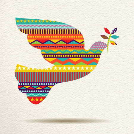 Merry Christmas dove bird design in fun happy colors with geometric shapes and stripes, concept holiday illustration. vector.