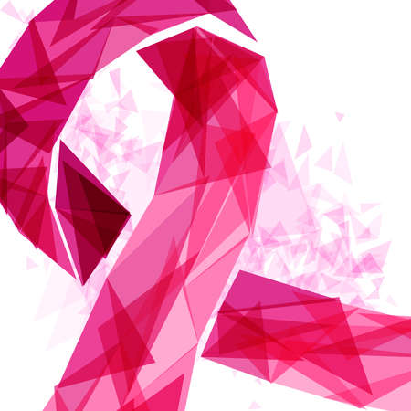 Breast Cancer Awareness illustration, pink ribbon in modern abstract style for support. vector.
