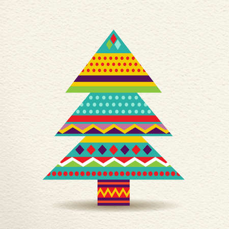 pine decoration: Merry Christmas pine tree decoration design in fun happy colors with geometric shapes and stripes, concept holiday illustration. vector. Illustration