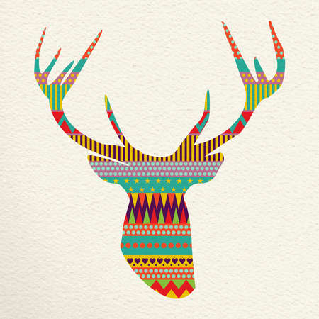 indie: Merry Christmas reindeer head design in fun happy colors with indie geometric shapes and stripes, concept holiday illustration. vector. Illustration