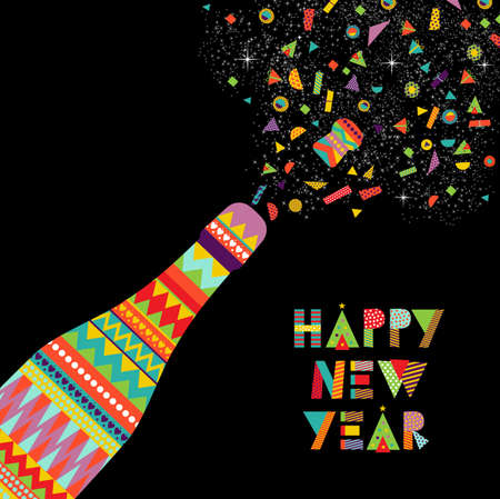 fun happy new year card design party bottle making toast and colorful decoration eps10 vector