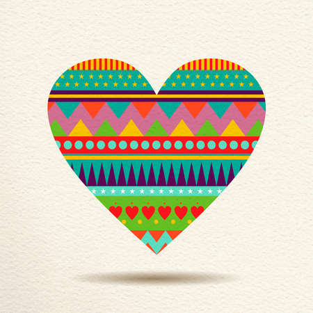 indie: Heart decoration in fun happy colors with abstract geometric indie shapes, concept love design. EPS10 vector.
