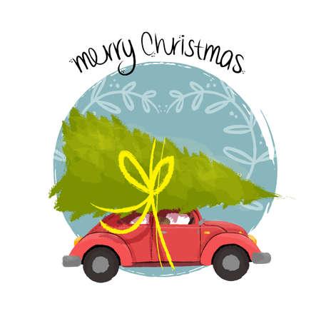 Frohe Weihnachten Hand gezeichnete Illustration von Vintage-rotes Auto mit Weihnachten Kiefer-Geschenk auf dem Dach. Vektor.