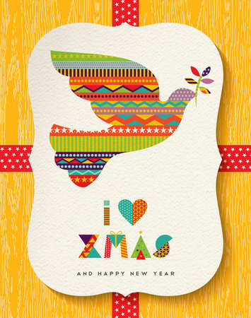 new year greeting: Merry Christmas and Happy New Year greeting card design, holiday dove bird made of vibrant colors as xmas gift label. vector Illustration