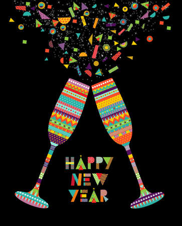 Fun Happy New Year card design with drink glass making toast and colorful decoration. EPS10 vector.