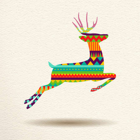 Merry Christmas jumping deer in fun happy colors with abstract geometric shapes, concept holiday design. vector. Illustration