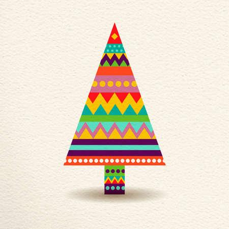 arbol de pino: Feliz árbol de pino de Navidad en colores diversión feliz con formas geométricas abstractas, diseño de concepto de vacaciones. vector.