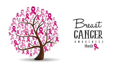 Le cancer du sein mois illustration conception du concept de l'arbre avec des rubans de sensibilisation rose pour le soutien. vecteur.