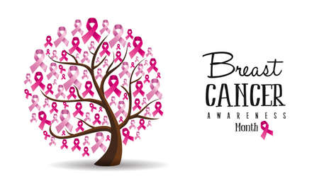 Breast cancer month illustration design of concept tree with pink awareness ribbons for support. vector.