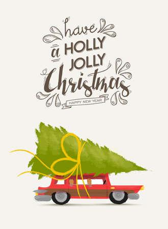 Frohe Weihnachten Grußkarte Design, Ferien guten Rutsch ins neue Jahr Schriftzug und Vintage Weihnachten Autoabbildung mit Kiefer Geschenk. Vektor.