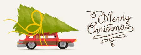 Frohe Weihnachten Grußkarte Illustration von Vintage-rotes Auto mit Weihnachten Kiefer-Geschenk auf dem Dach. Vektor.