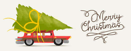 Merry christmas greeting card illustration of vintage red car with xmas pine tree gift on roof. vector.