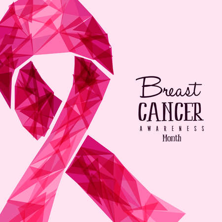 Breast Cancer Month design, pink awareness ribbon illustration in abstract geometric style for support. vector. Illustration
