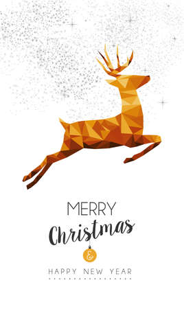 decoration style: Merry christmas and happy new year gold reindeer in low poly triangle style, holiday decoration card design.