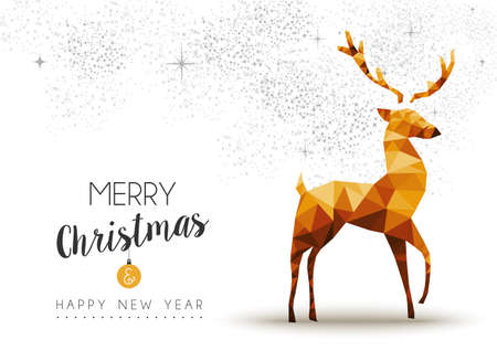decoration style: Merry christmas and happy new year gold deer in low poly triangle style, holiday decoration card design.