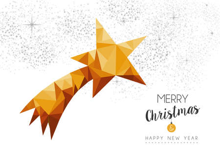 xmas star: Merry christmas and happy new year gold xmas star ornament in low poly triangle style, holiday decoration card design.