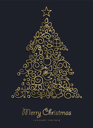 pine decoration: Merry Christmas Happy New Year 2017 greeting card background. Linear xmas pine tree with monogram decoration, ornaments and leaves.