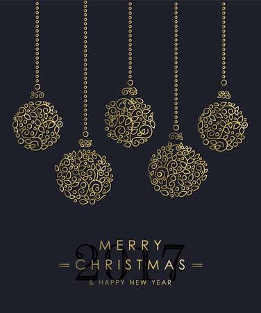 Merry Christmas Gelukkig Nieuwjaar 2017 wenskaart achtergrond. Lineaire ornament kerstballen met monogram decoratie en bladeren. Stockfoto - 65394687