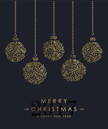 Merry Christmas Happy New Year 2017 greeting card background. Linear ornament baubles with monogram decoration and leaves.