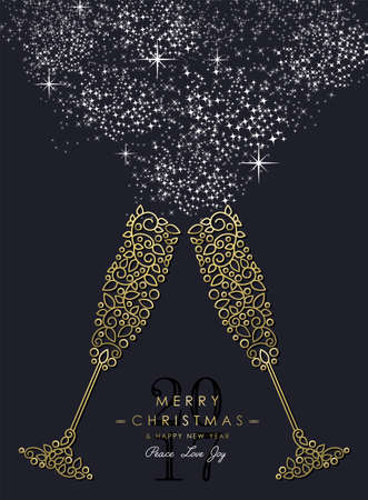 nouvel an: Joyeux Noël Happy New Year 2017 carte de voeux de fond. boissons en verre linéaires faisant des toasts avec le monogramme décoration, des ornements et des feuilles.