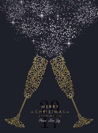 Merry Christmas Gelukkig Nieuwjaar 2017 wenskaart achtergrond. Lineaire glazen drankjes maken toast met monogram decoratie, ornamenten en bladeren.