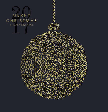 greetings from: Merry Christmas Happy New Year 2017 greeting card background. Linear bauble ornament with monogram decoration and leaves.