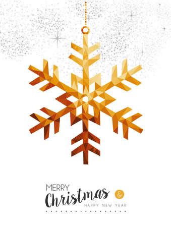 Vrolijke Kerstmis en de gelukkige sneeuwvlok van de nieuw jaar gouden winter in lage polydriehoekstijl, de kaartontwerp van de vakantiedecoratie.