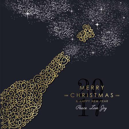 Merry Christmas Gelukkig Nieuwjaar 2017 wenskaart achtergrond. Lineaire partij fles met monogram decoratie, ornamenten en bladeren. Stockfoto - 65394718