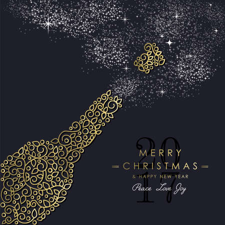 Merry Christmas Happy New Year 2017 greeting card background. Linear party bottle with monogram decoration, ornaments and leaves.