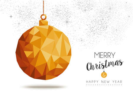 decoration style: Merry christmas and happy new year gold xmas bauble ornament in low poly triangle style, holiday decoration card design. EPS10 vector. Illustration