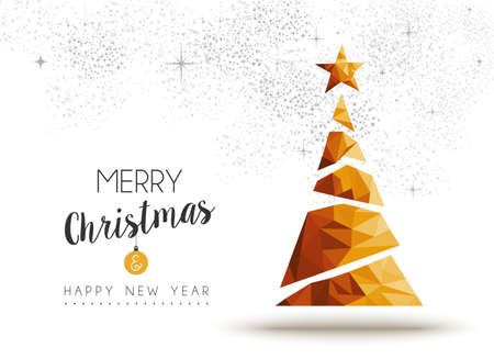 Merry christmas and happy new year gold xmas pine tree in low poly triangle style, holiday decoration card design.