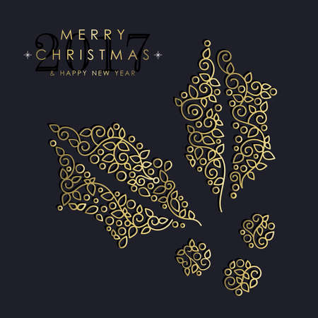 new plant: Merry Christmas Happy New Year 2017 greeting card background. Linear mistletoe plant with monogram decoration, ornaments and leaves.