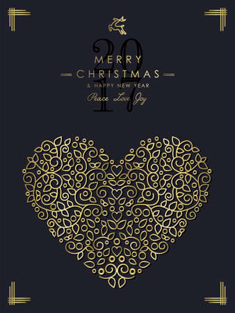 heart abstract: Merry Christmas Happy New Year 2017 greeting card background. Linear love heart shape with monogram decoration, ornaments and leaves. Illustration