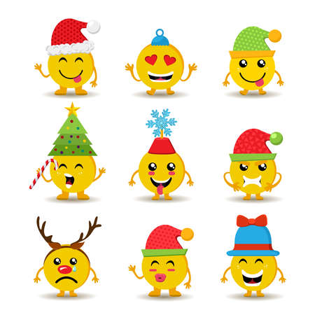 set of holiday smiley faces christmas emoji icons with cute seasonal decoration and different reactions - Christmas Smiley Faces