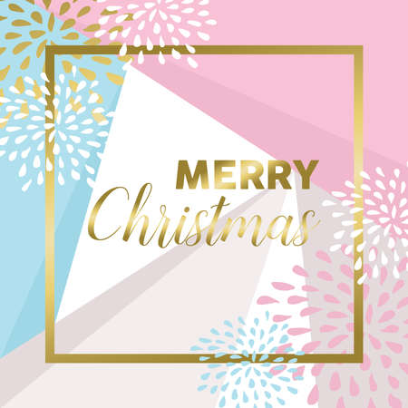Merry Christmas modern abstract style design in gold color with decoration for holiday season.