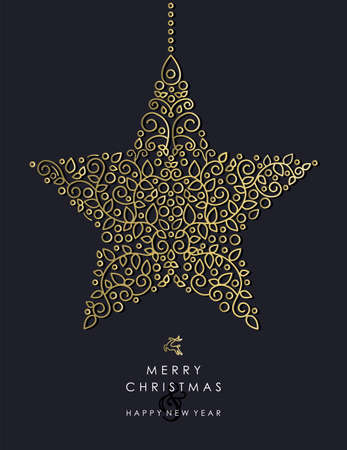 Merry Christmas Happy New Year 2017 greeting card background. Linear star ornament with monogram decoration and leaves.