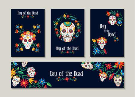 Dag van de dode sjabloon ingesteld voor wenskaart, label of tag. Traditionele Mexicaanse decoratie met kleurrijke kunst en bloemen. EPS10 vector.