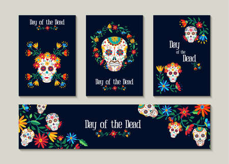 Dzień martwego szablonu zestaw dla karty z pozdrowieniami, etykiety lub tagu. Tradycyjna meksykańska dekoracja z kolorową sztuką i kwiatami. Eps10 wektor.