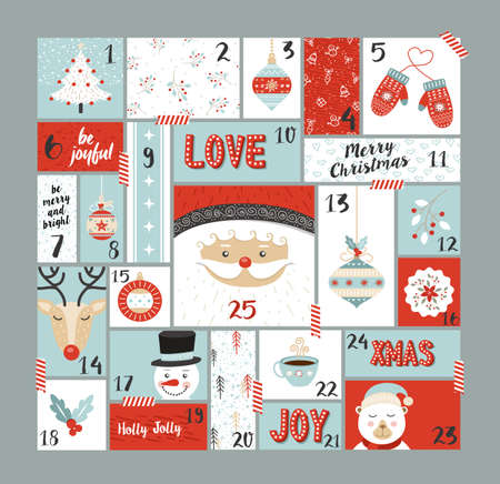 Christmas advent calendar cute holiday decoration, countdown to xmas day with santa claus, reindeer, pine tree and joyful season elements. EPS10 vector. Çizim