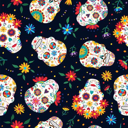 Dag van het dode naadloze patroon met traditionele Mexicaanse suiker schedel decoratie, bloemen en kleurrijke kunst.