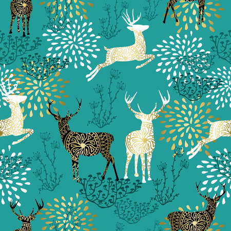 Christmas seamless pattern with gold reindeer and boho style nature decoration on blue background.
