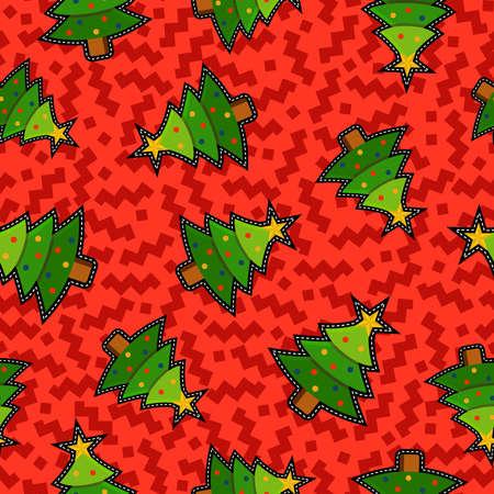 pine decoration: Christmas seamless pattern background with holiday xmas pine tree stitch patch icon decoration. Illustration