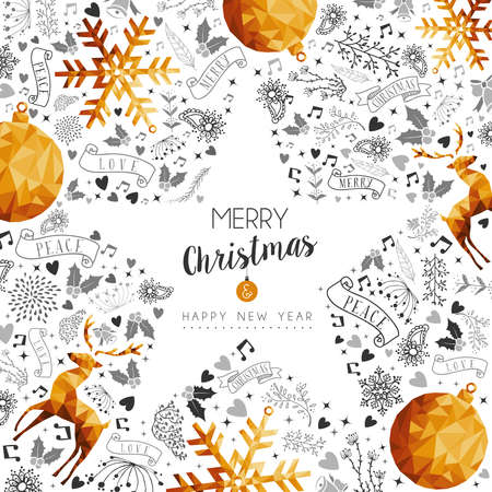 Merry Christmas and Happy New Year gold star shape frame decoration with deer, nature and holiday ornaments. Illustration