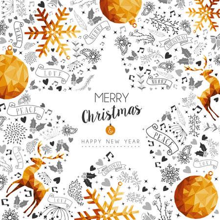 Vrolijk kerstfeest en gelukkig nieuwjaar gouden ster vorm frame decoratie met herten, natuur en vakantie ornamenten.