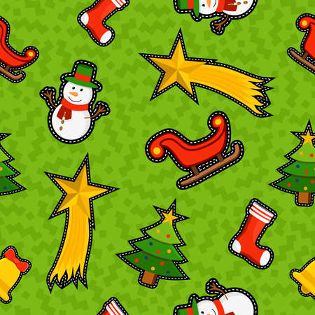 xmas star: Christmas seamless pattern background with holiday ornament decoration: xmas pine tree, snowman, sled and star.