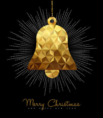 gold christmas background: Gold Merry Christmas and New Year design, elegant bell ornament decoration in low poly style. Illustration