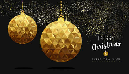 navidad elegante: Gold Merry Christmas and New Year design, elegant xmas bauble ornament decoration in low poly style. Vectores