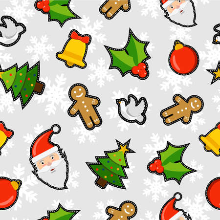 gingerbread: Christmas seamless pattern background with holiday decoration patch icons: santa claus, ornament bauble, pine tree, mistletoe, gingerbread and peace dove.