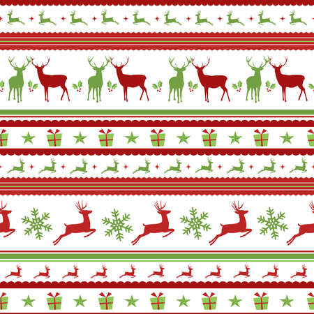 gift pattern: Christmas seamless pattern with holiday decoration: deer silhouettes, gift box and snowflakes.