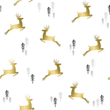 tree silhouettes: Simple Christmas seamless pattern, gold deer silhouettes with xmas pine tree doodle.